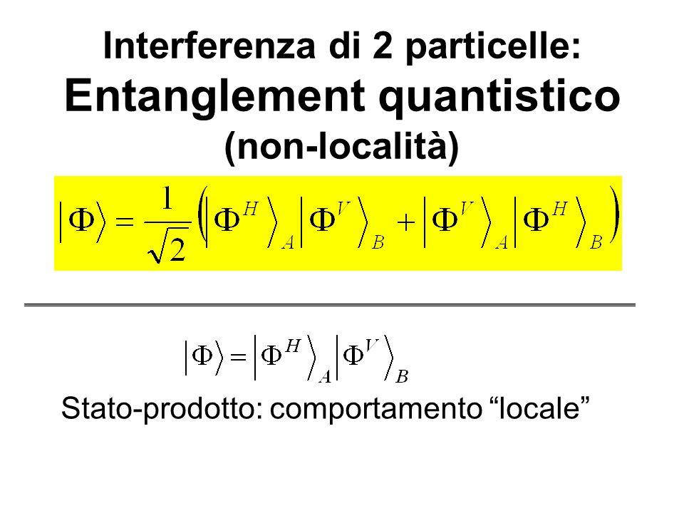 Interferenza di 2 particelle: Entanglement quantistico (non-località)