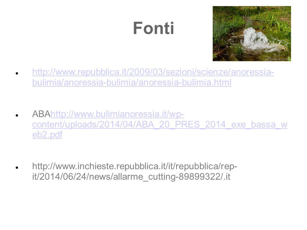 Fonti http://www.repubblica.it/2009/03/sezioni/scienze/anoressia- bulimia/anoressia-bulimia/anoressia-bulimia.html.