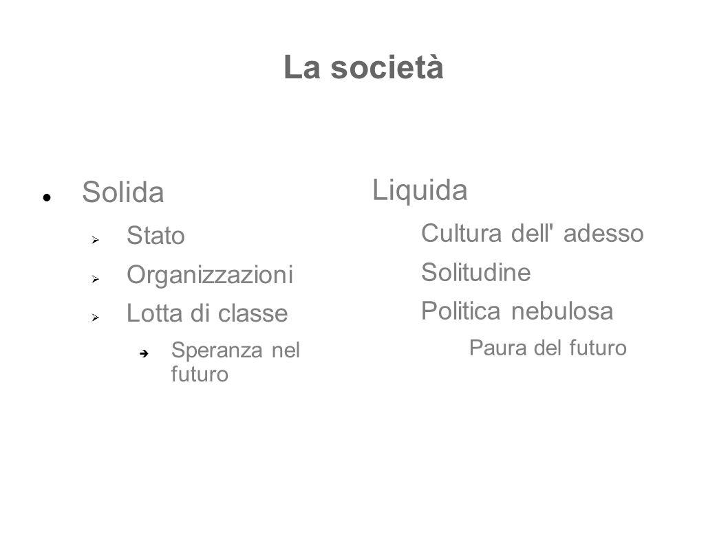 La società Liquida Solida Cultura dell adesso Stato Solitudine