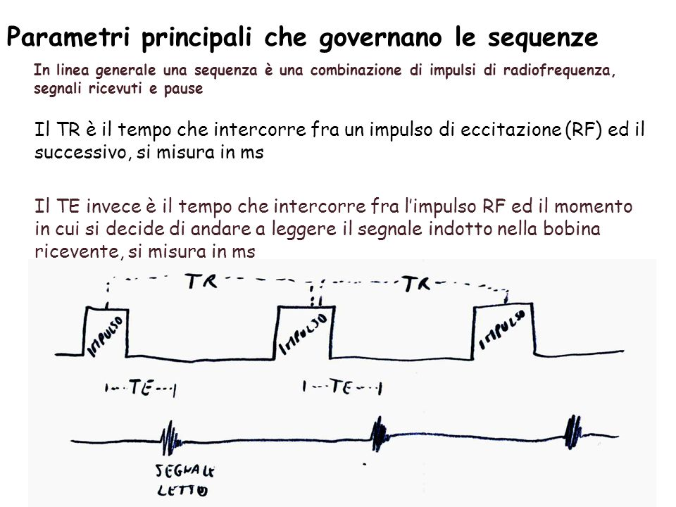 Parametri principali che governano le sequenze