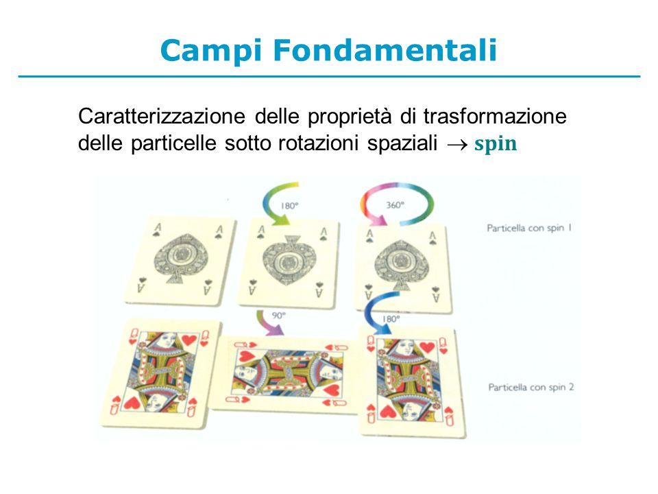 Campi Fondamentali Caratterizzazione delle proprietà di trasformazione delle particelle sotto rotazioni spaziali  spin.