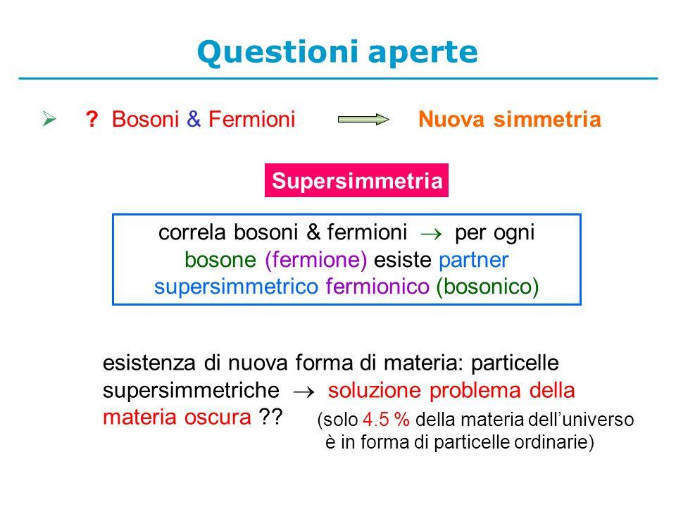 Questioni aperte Bosoni & Fermioni Nuova simmetria