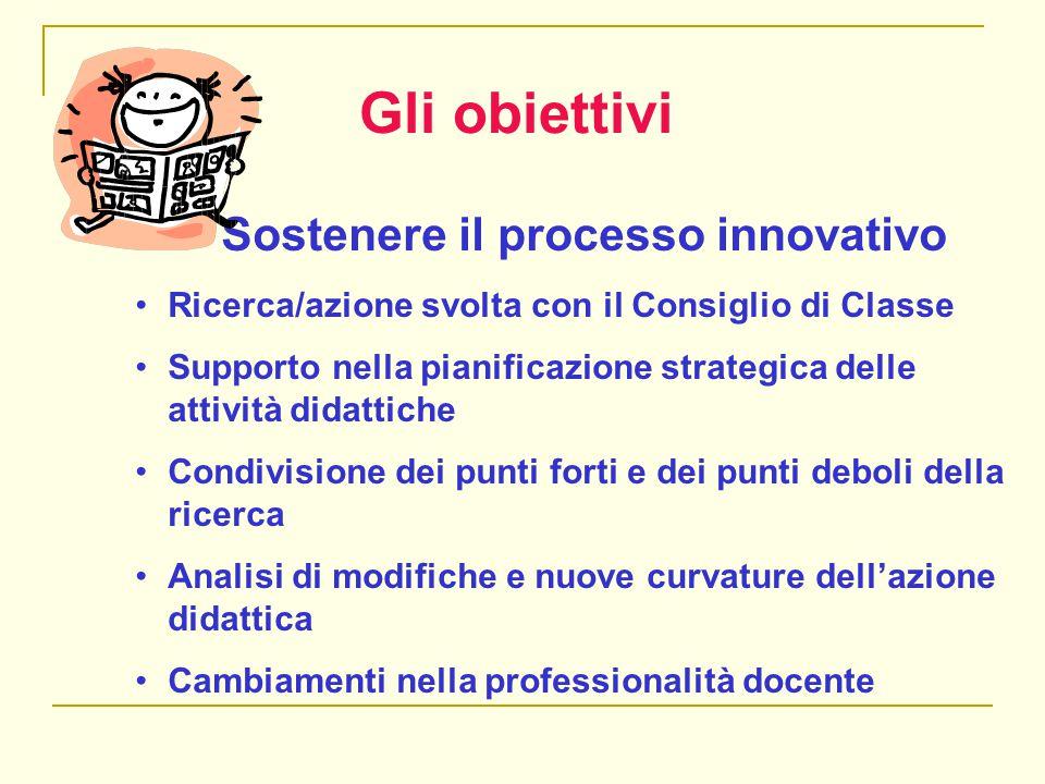 Gli obiettivi Sostenere il processo innovativo