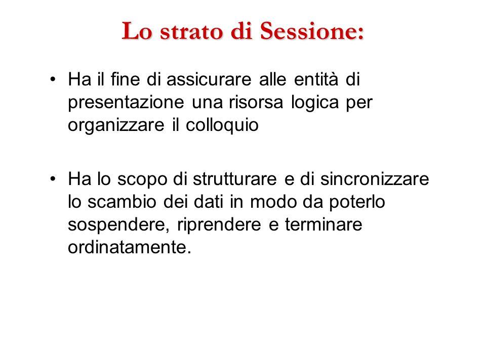 Lo strato di Sessione:Ha il fine di assicurare alle entità di presentazione una risorsa logica per organizzare il colloquio.