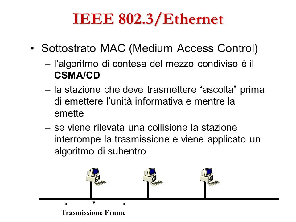 IEEE 802.3/Ethernet Sottostrato MAC (Medium Access Control)
