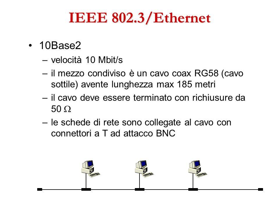 IEEE 802.3/Ethernet 10Base2 velocità 10 Mbit/s