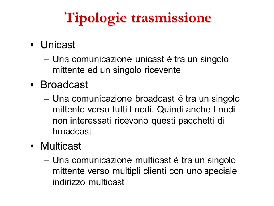 Tipologie trasmissione