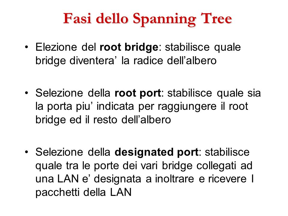 Fasi dello Spanning Tree