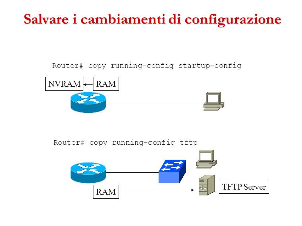 Salvare i cambiamenti di configurazione