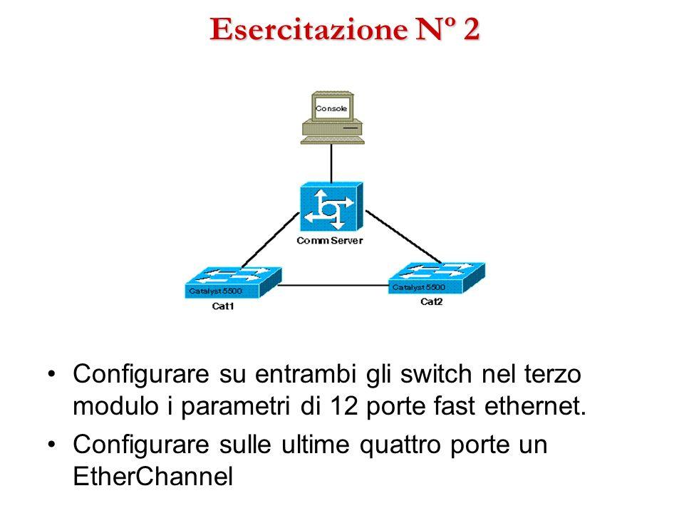 Esercitazione Nº 2Configurare su entrambi gli switch nel terzo modulo i parametri di 12 porte fast ethernet.