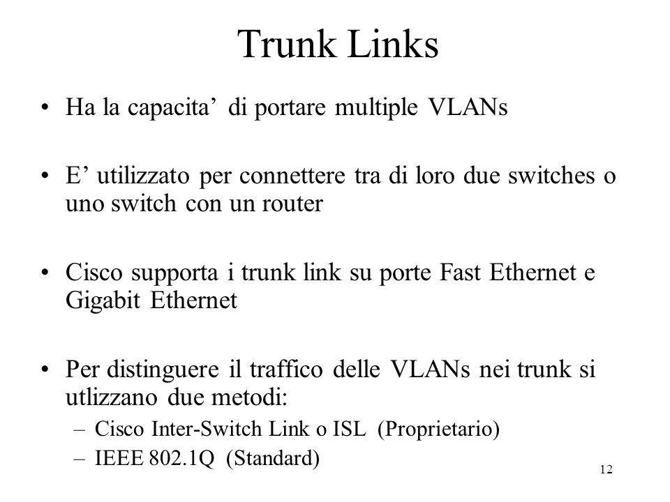 Trunk Links Ha la capacita' di portare multiple VLANs