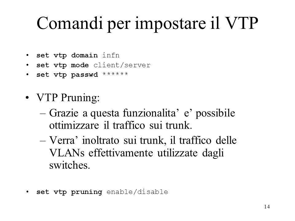Comandi per impostare il VTP