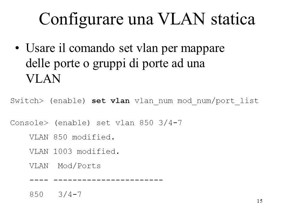 Configurare una VLAN statica