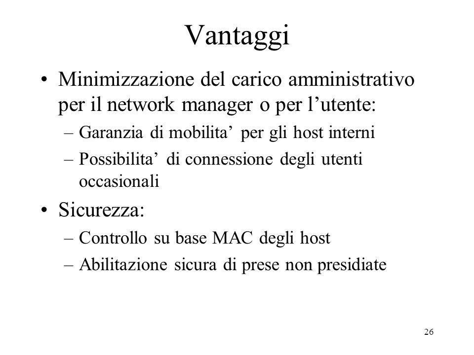 Vantaggi Minimizzazione del carico amministrativo per il network manager o per l'utente: Garanzia di mobilita' per gli host interni.