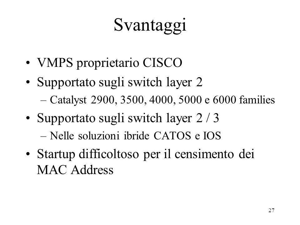 Svantaggi VMPS proprietario CISCO Supportato sugli switch layer 2