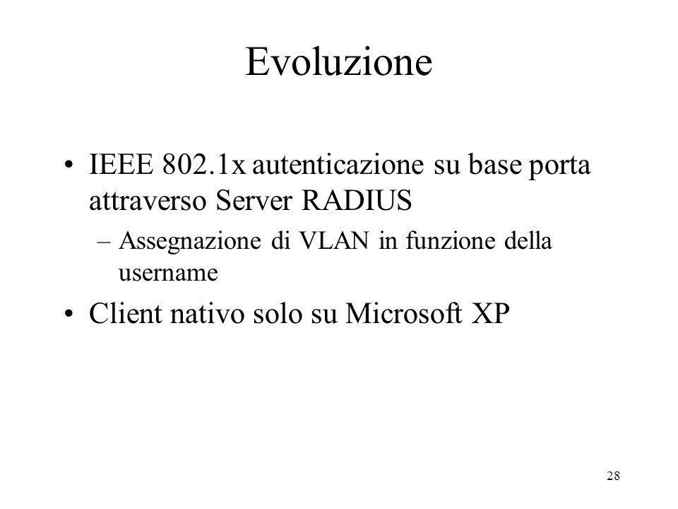 Evoluzione IEEE 802.1x autenticazione su base porta attraverso Server RADIUS. Assegnazione di VLAN in funzione della username.