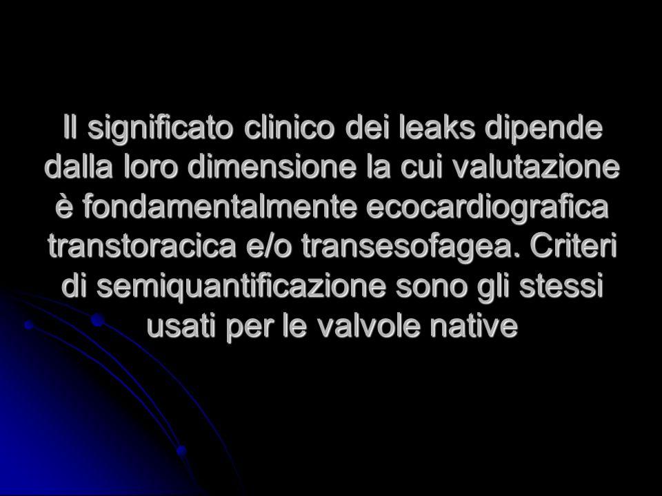 Il significato clinico dei leaks dipende dalla loro dimensione la cui valutazione è fondamentalmente ecocardiografica transtoracica e/o transesofagea.