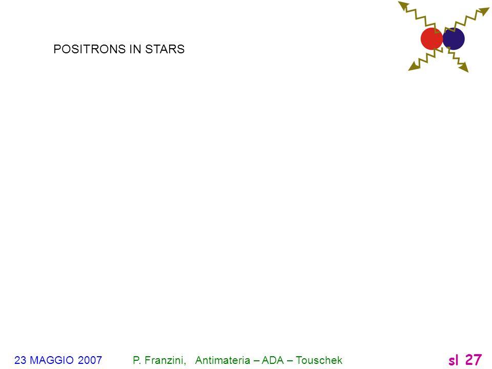 POSITRONS IN STARS 23 MAGGIO 2007 P. Franzini, Antimateria – ADA – Touschek