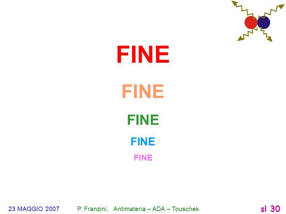 FINE 23 MAGGIO 2007 P. Franzini, Antimateria – ADA – Touschek