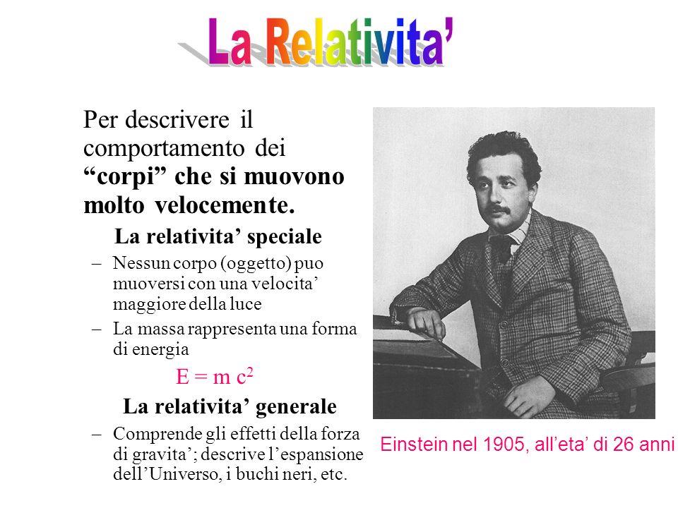 La Relativita' Per descrivere il comportamento dei corpi che si muovono molto velocemente. La relativita' speciale.