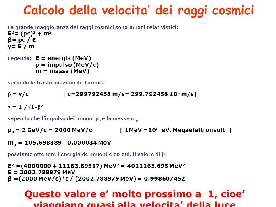 Calcolo della velocita' dei raggi cosmici