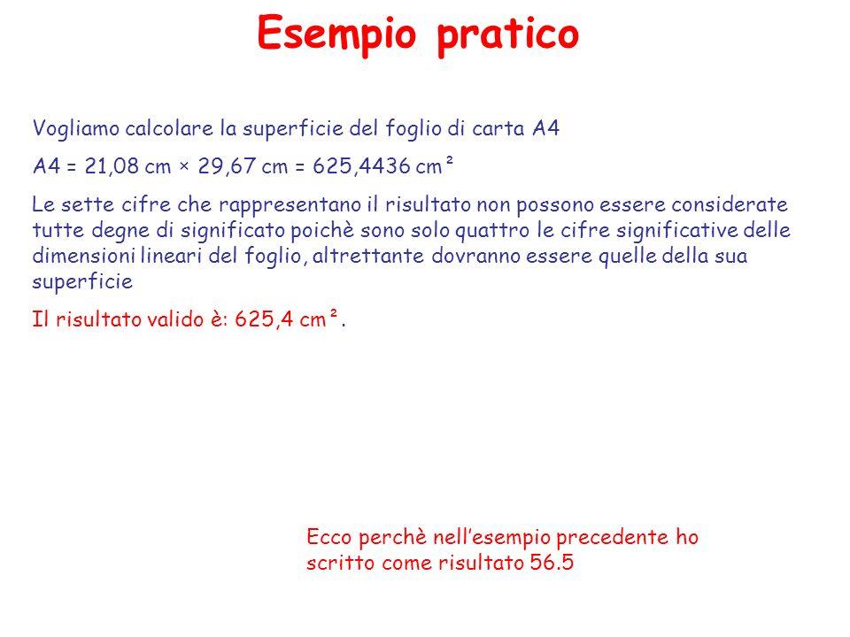 Esempio pratico Vogliamo calcolare la superficie del foglio di carta A4. A4 = 21,08 cm × 29,67 cm = 625,4436 cm².