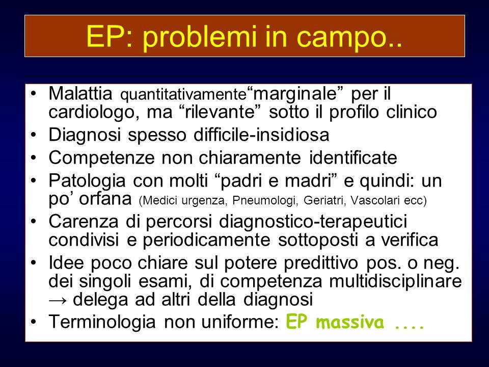 EP: problemi in campo.. Malattia quantitativamente marginale per il cardiologo, ma rilevante sotto il profilo clinico.