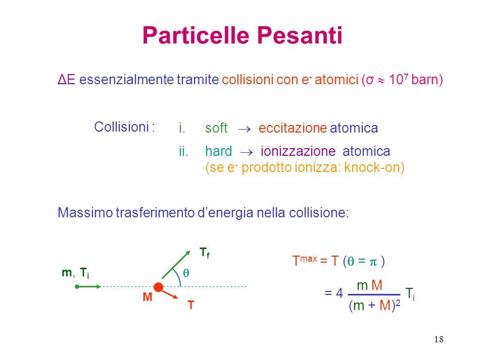 Particelle Pesanti ΔE essenzialmente tramite collisioni con e- atomici (σ  107 barn) Collisioni :