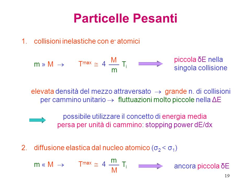 Particelle Pesanti collisioni inelastiche con e- atomici Tmax  4 M m
