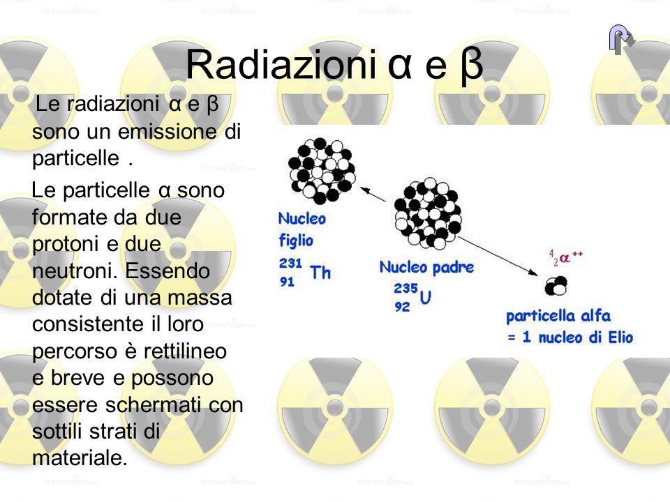 Radiazioni α e β Le radiazioni α e β sono un emissione di particelle .