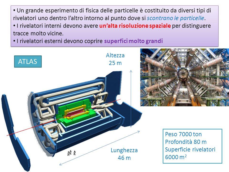 Un grande esperimento di fisica delle particelle è costituito da diversi tipi di rivelatori uno dentro l'altro intorno al punto dove si scontrano le particelle.
