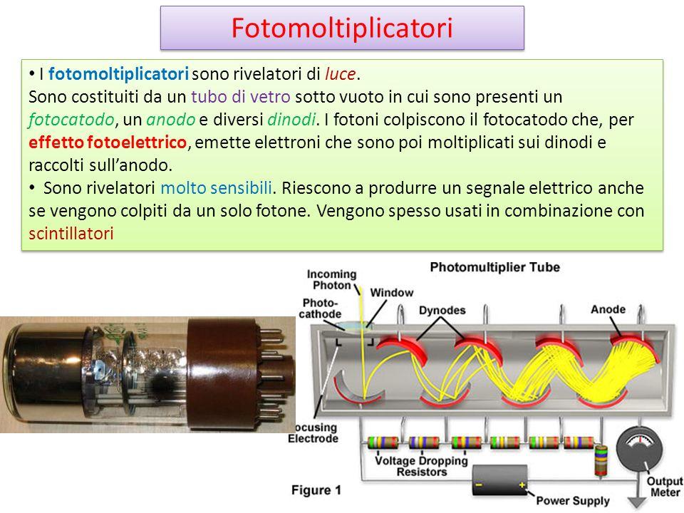Fotomoltiplicatori I fotomoltiplicatori sono rivelatori di luce.