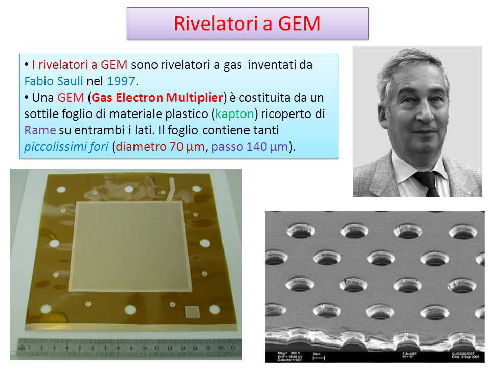 Rivelatori a GEM I rivelatori a GEM sono rivelatori a gas inventati da Fabio Sauli nel
