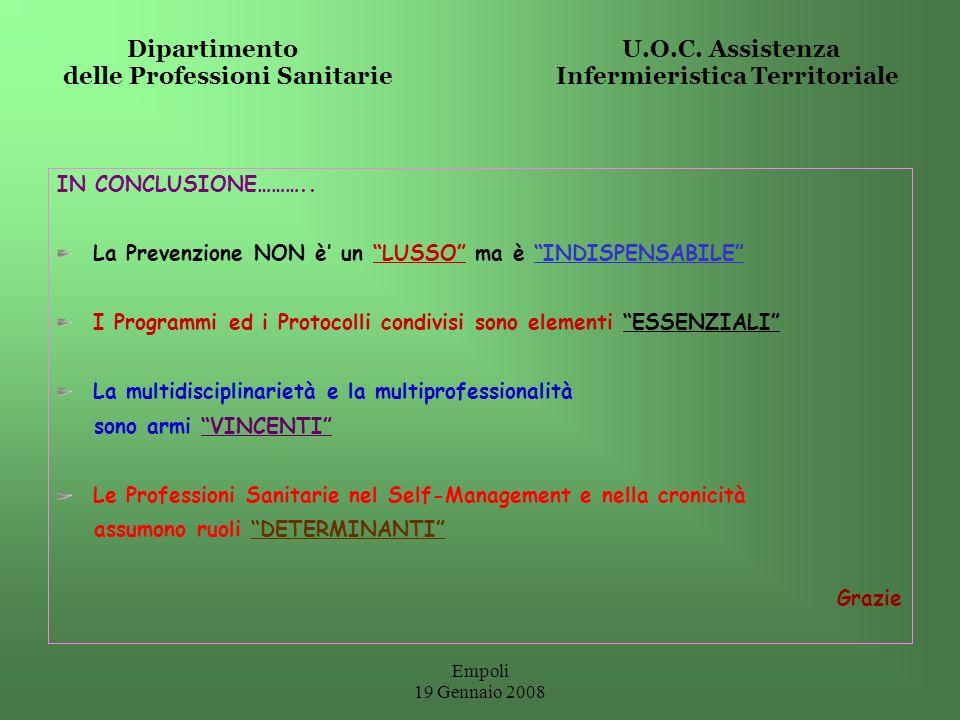 Dipartimento U.O.C. Assistenza delle Professioni Sanitarie Infermieristica Territoriale