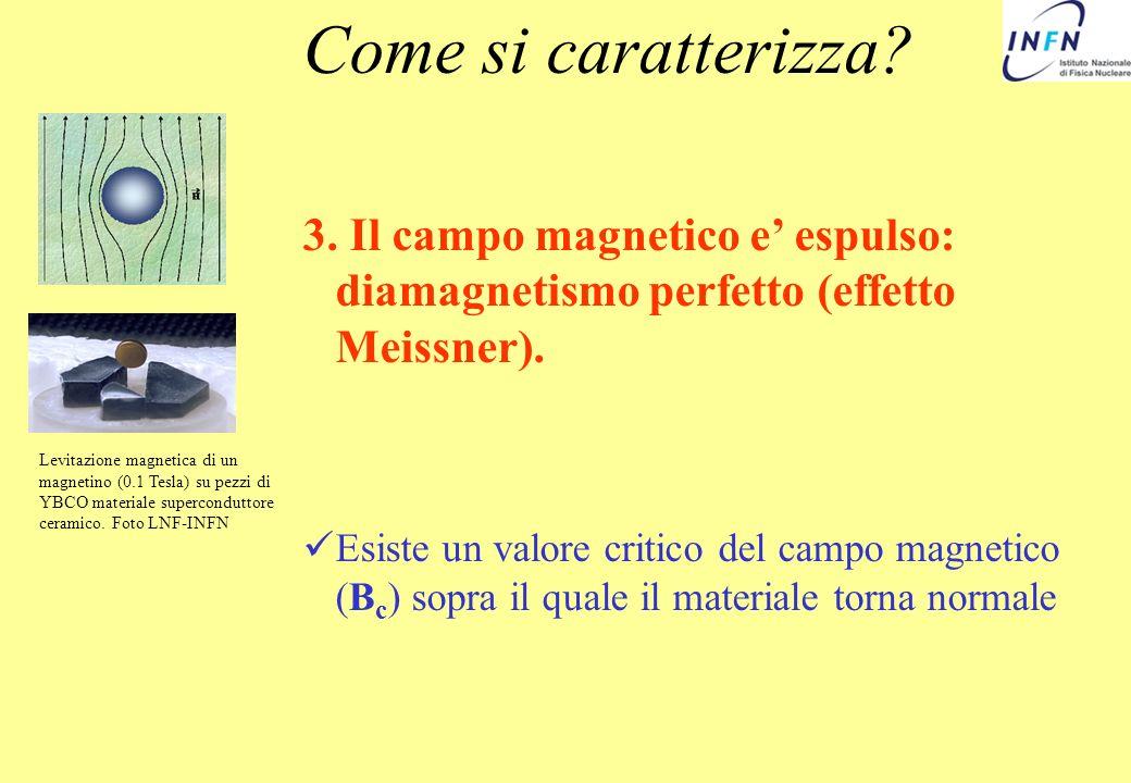 Come si caratterizza 3. Il campo magnetico e' espulso: diamagnetismo perfetto (effetto Meissner).