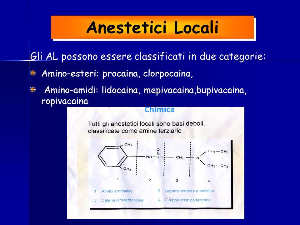 Anestetici Locali Gli AL possono essere classificati in due categorie: