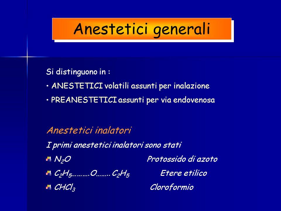 Anestetici generali Anestetici inalatori Si distinguono in :