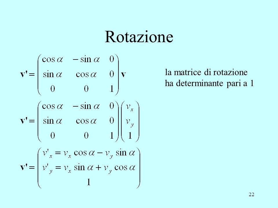 Rotazione la matrice di rotazione ha determinante pari a 1