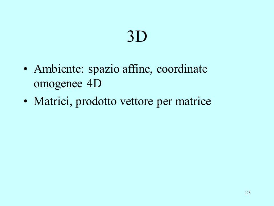 3D Ambiente: spazio affine, coordinate omogenee 4D