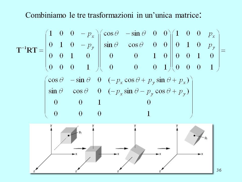 Combiniamo le tre trasformazioni in un'unica matrice: