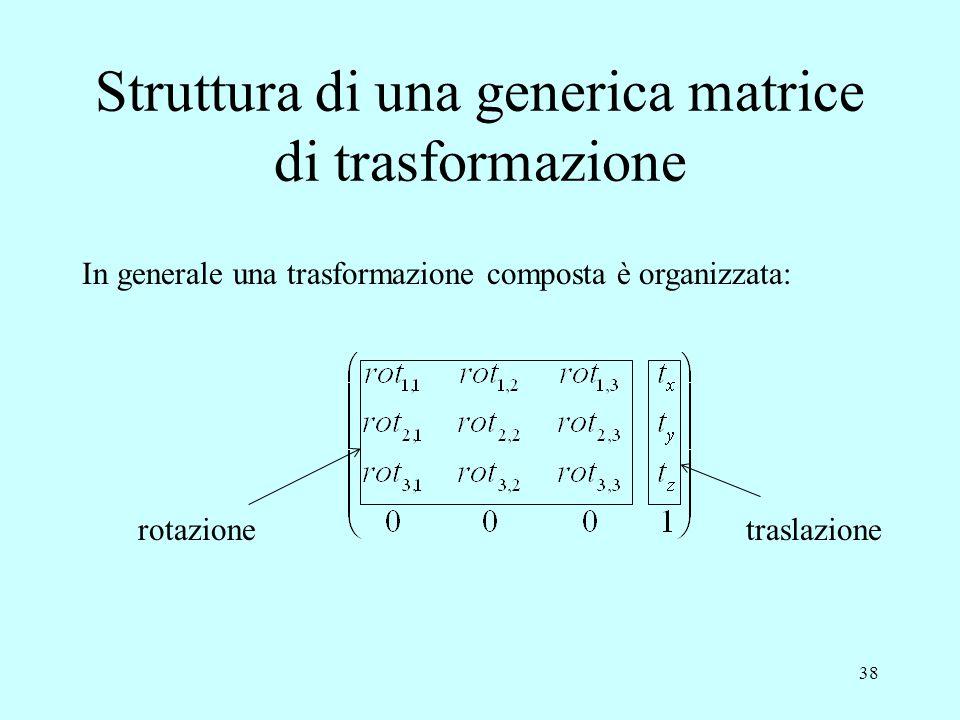 Struttura di una generica matrice di trasformazione