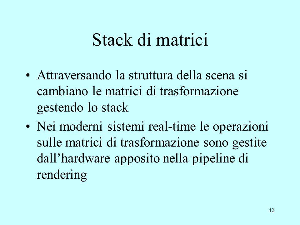 Stack di matrici Attraversando la struttura della scena si cambiano le matrici di trasformazione gestendo lo stack.