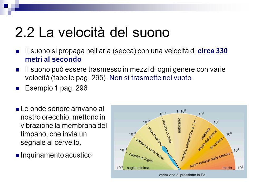 2.2 La velocità del suono Il suono si propaga nell'aria (secca) con una velocità di circa 330 metri al secondo.