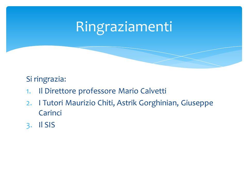 Ringraziamenti Si ringrazia: Il Direttore professore Mario Calvetti