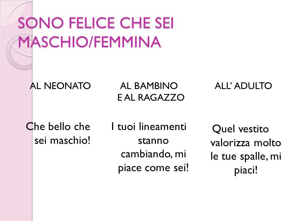 SONO FELICE CHE SEI MASCHIO/FEMMINA