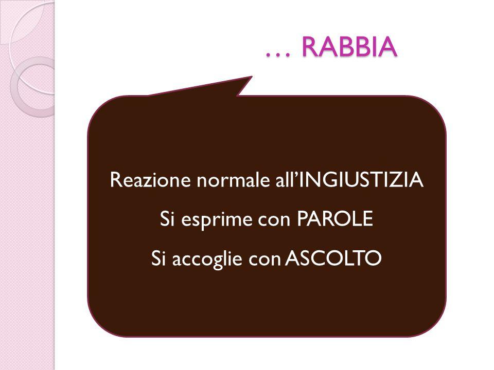 … RABBIA Reazione normale all'INGIUSTIZIA Si esprime con PAROLE