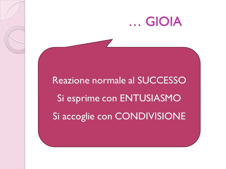 … GIOIA Reazione normale al SUCCESSO Si esprime con ENTUSIASMO