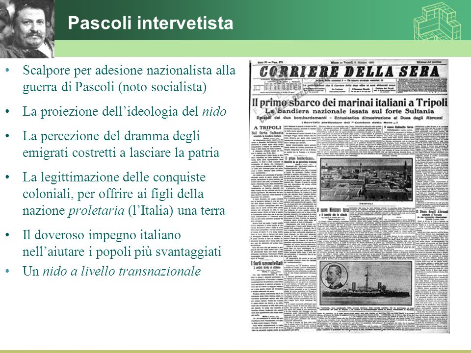 Pascoli intervetista Scalpore per adesione nazionalista alla guerra di Pascoli (noto socialista) La proiezione dell'ideologia del nido.