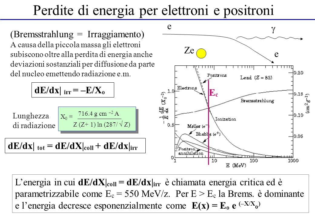 Perdite di energia per elettroni e positroni
