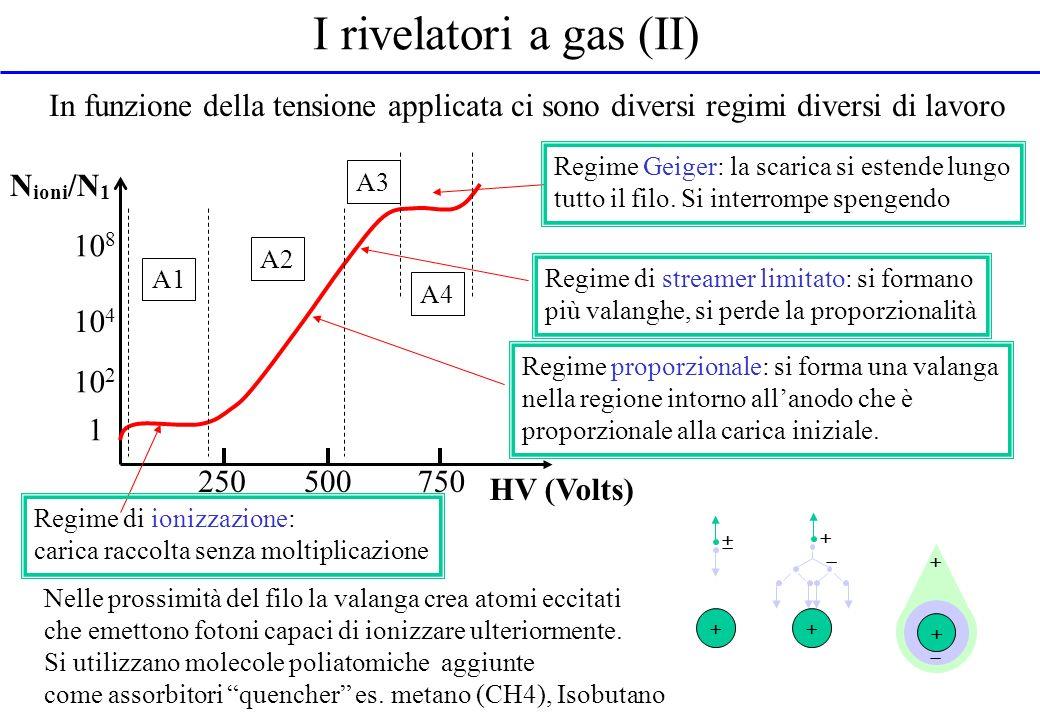 I rivelatori a gas (II) In funzione della tensione applicata ci sono diversi regimi diversi di lavoro.